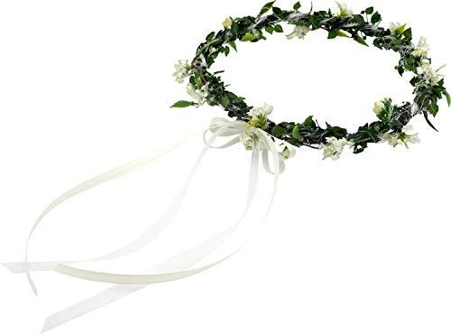 ZauberDeko Haarschmuck Haarkranz Weiß Grün Vintage Kopfschmuck Hochzeit Blumenkind Kommunion