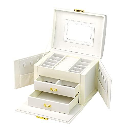 ADELDREAM - Joyero para mujer y niña, 3 niveles, 2 cajones, 3 colores, con espejo, para anillos, pendientes, collares, pulseras (blanco2)