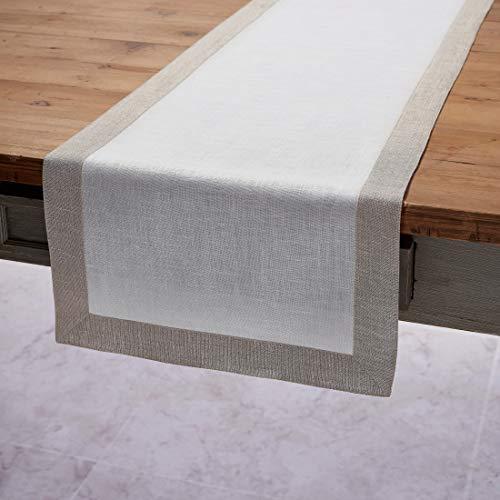 Solino Home Decorative Linen Table Runner  Festive Edge, 14 x 72 Inch Runner Woven with Decorative Zari Border  White with Natural