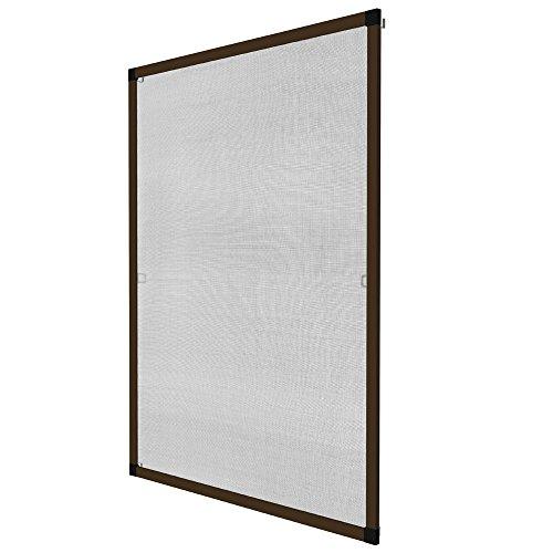 TecTake Zanzariera universale per finestre struttura alluminio in kit - disponibile in diversi colori e misure - (80x100cm | marrone | no. 401208)