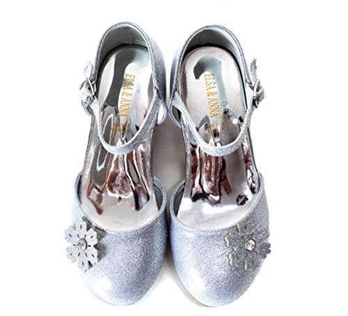 ELSA & ANNA® - Ballerines Princesse Reine de Neiges - Blanc (Silver, Euro 27-Longueur intérieure:18.0cm)