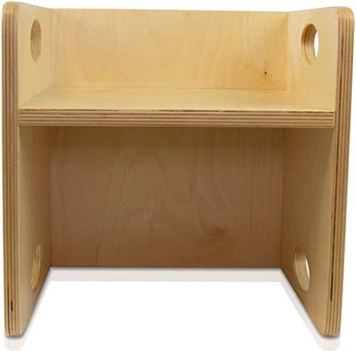 edufun Kinderstuhl Wendehocker Holz 2in1 Tisch Kinder-Hocker mitwachsende Kindermöbel Zwei Sitzhöhen 21 cm oder 10,5 cm als Tisch 30 x 30 cm