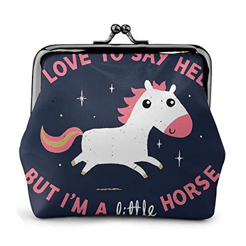 I 'M Un pequeño caballo portamonedas, de piel, cambio de bolsas, cierre lo mini bolsas de maquillaje para mujeres y niñas