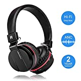 Active Noise Cancelling Wired/Wireless Bluetooth Headphones with Mic,Adjustable Foldable on the Ear,Soft Memory-Protein Earmuff,Hi-Fi Stereo Headset for PC/Cell Phones/TV