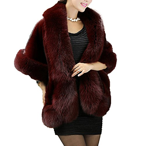 Caracilia Women's Fashion Luxury Soft Long Faux Rex Rabbit Fur Shawl Wine1 CA89
