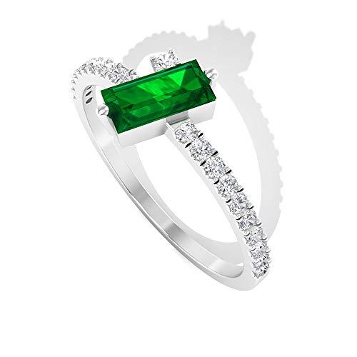 Anillo de boda de esmeralda con forma de baguette de 0,36 quilates, anillo de oro de diamantes certificado SGL de 0,17 quilates, 14K Oro blanco, esmeralda, Size:EU 63