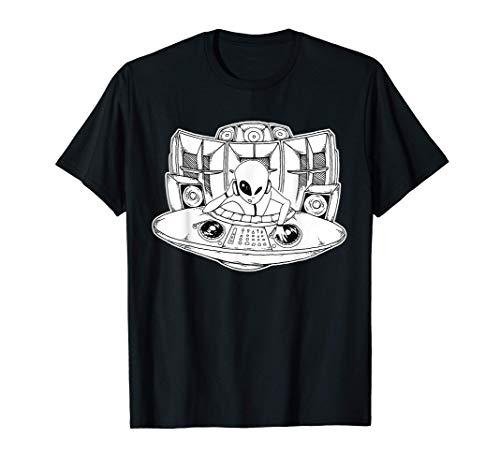 Vinyl Plattenspieler Alien Techno Ufo Raver T-Shirt