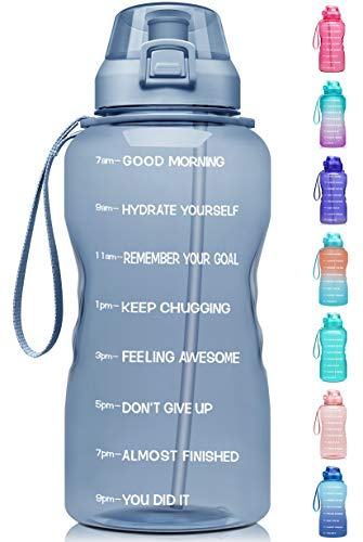 Fidus Large 1 Gallon/128oz Motivational Water Bottle with Time Marker & Straw,Leakproof Tritan BPA Free Water Jug,Ensure You Drink Enough Water Daily for Fitness,Gym and Outdoor Sports-Gray