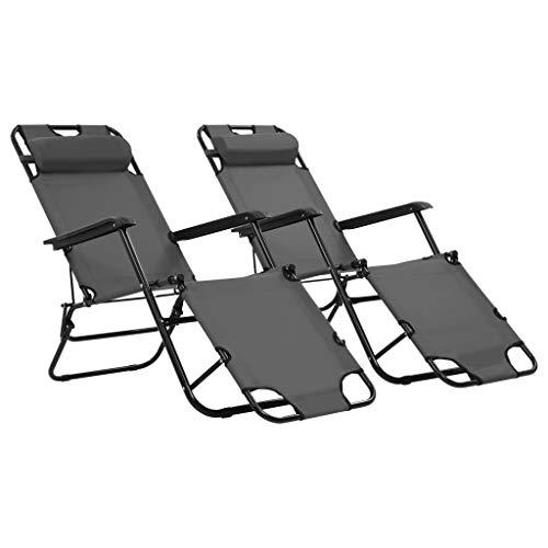 Festnight- 2 Stück Sonnenliegen Liegestuhl Relaxliege mit Fu?stütze Grau 175 x 61 x 87 cm, Klappstuhl Gartenliege Klappbar