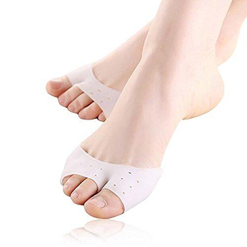 JIAHAO - 1 par de almohadillas protectoras para dedos del pie, correctoras, diseño de agujero suave para evitar callos y ampollas