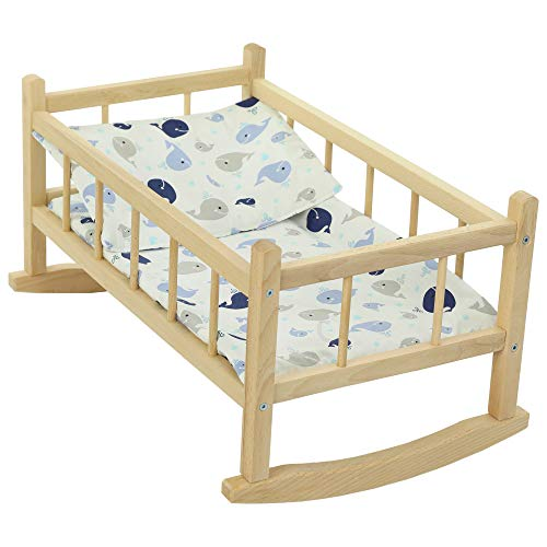 CuddlyZOO NEW LARGE WOODEN PINK ROCKING BED COT Fits Up to 46cm 18' Doll (blue whale)