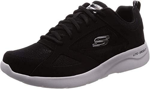 Skechers Men's Dynamight 2.0-fallford Trainers, Negro (Black Leather/Mesh/Pu/Trim Blk), 6.5 UK (40 EU)
