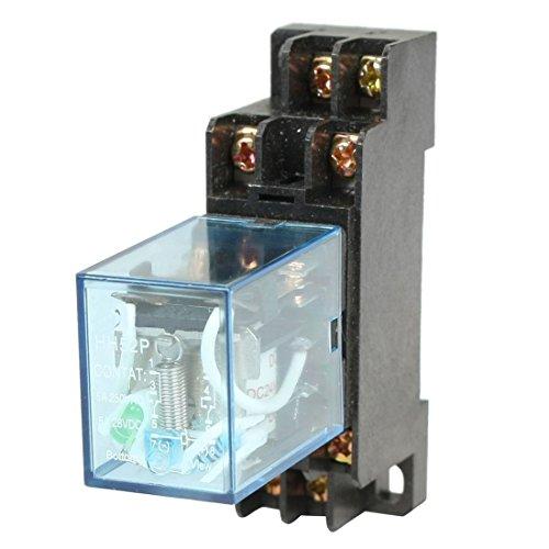 HH52P Elektromagnetische Relais - TOOGOO(R)HH52P DC 24V Spule DPDT 8 Pins Elektromagnetische Leistungsrelais mit DYF08A Basis, schwarz + klar blau
