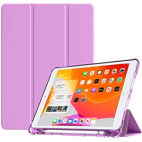 TiMOVO Case for New iPad 7th Generation 10.2' 2019, Soft TPU Translucent Frosted Back Protective Smart Case with Auto Wake/Sleep & Pencil Holder Fit iPad 10.2-inch Retina Display - Purple