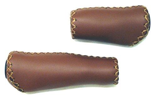 CBK-MS® ergonomisch geformte Lenkergriffe echt Leder braun Fahrradgriffe lang/kurz 135 / 92mm für Fahrräder mit Drehgriffschaltung