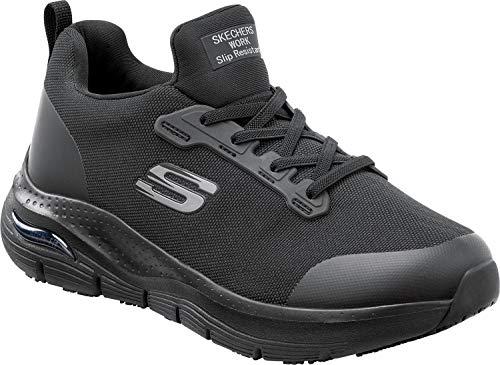 Skechers Arch Fit Work Leslie, Women's, Black, Alloy Toe, Slip Resistant Low Athletic Slip On Work Shoe (6.5 M)