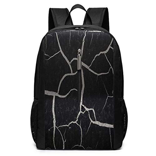 School Travel Business Bag Laptop BackpackOld Cracked Paint Black Marble Laptop Backpack Shoulder Bookbags Bag for Womens Mens Youth 17'