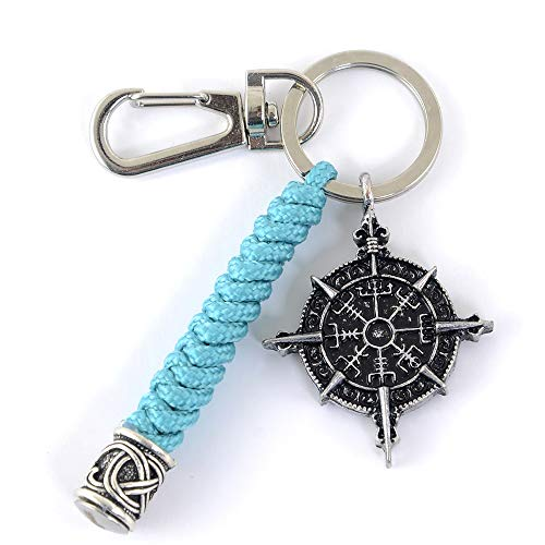 Viking Celtic Compass Paracord Keychain-Norse Scandinavian Amulet Keyring Green Paracord Handmade Keychain Lanyard for men Jewelry Gifts Teen Gifts
