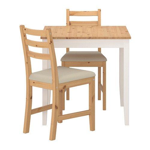 IKEA - mesa LERHAMN y 2 sillas, luz barnizado, 74 x 74 cm - beige ...