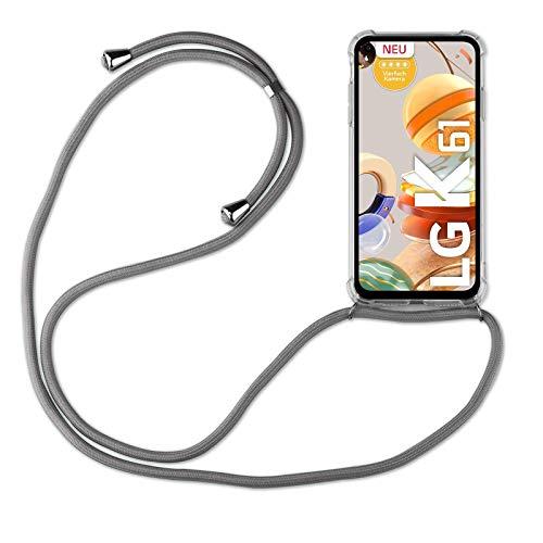 betterfon | LG K61 Handykette Smartphone Halskette Hülle mit Band - Schnur mit Hülle zum umhängen Handyhülle mit Kordel zum Umhängen für LG K61 Grau