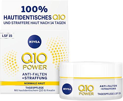 NIVEA Q10 Power Anti-Falten + Straffung Tagespflege für glattere & jünger aussehende Haut, Tagescreme mit LSF 15, 2er Pack(2 x 50 ml)