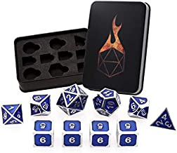 Forged Dice Co. Metal Dice Set - Polyhedral Dice Set of 10 with Dice Storage Tin and Stickers - Metal DND Dice and Gaming Dice for Dungeons and Dragons RPG Games Guardian Silver w/Blue Enamel