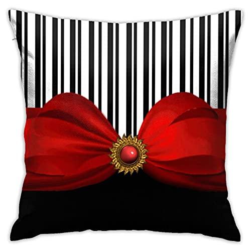 Elegante funda de almohada cuadrada con diseño de rayas blancas y negras y lazo rojo para el hogar, sofá, dormitorio, sala de estar, jardín al aire libre, coche, decoración de 45 x 45 cm