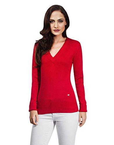 Vincenzo Boretti Damen Pullover V-Ausschnitt V-Neck modern elegant Chick edel weich Strick-Pullover rot XL