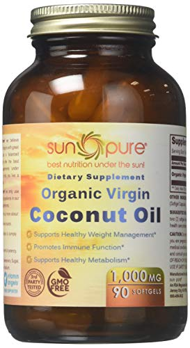 Sun Pure Premium Quality Coconut Oil 1000mg Softgels Glass Bottle 90 Count -Supports Healthy Weight Management -Promotes Immune Function -Supports Healthy Metabolism