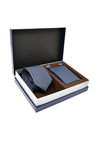 Coffret Ensemble Cravate Homme, Mouchoir de Poche, Boutons de Manchette à rayures Bleu - 100% en Soie - Classique, Elégant et Moderne - (Idéal pour un
