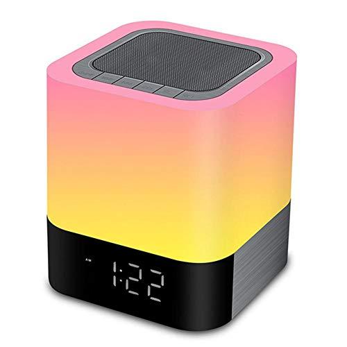 WSY Nachtlichter-Wecker-Lautsprecher Smart-Touch Control Dimmbare RGB LED Tabellen-Lampe Für Schlafzimmer HiFi Ton Mehrfarbenwechsel,B