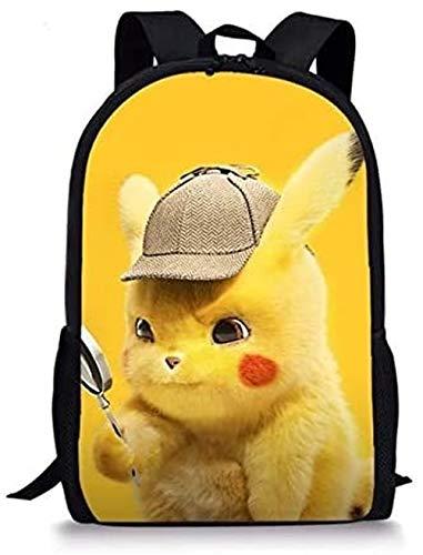 XWXBB Film Pokemon Detective Pikachu Sac à dos pour adolescents Sac d'école Imprimé 3D Sac de voyage Sac à dos d'école Sac d'école