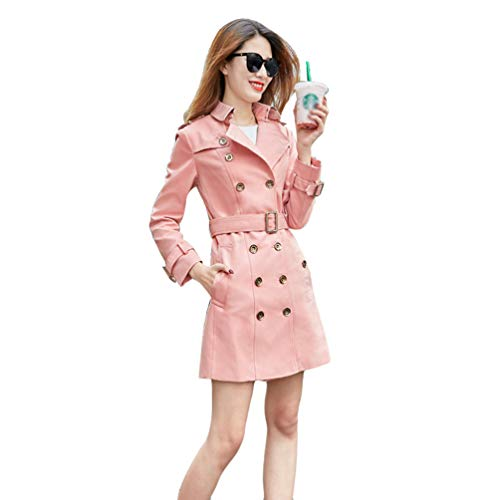 Lvguang Frauen Business Casual Stil Mittellanger Mantel Outwear Maxi Slim Laple Trench Overcoat (Rosa, Asia M)