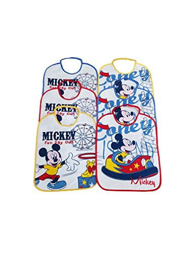 SET 6 BAVAGLINI GRANDI IN SPUGNA PLASTIFICATA CON ELASTICO MICKEY MOUSE ASSORTITI 36x28,5 cm (ART. AD 9608)
