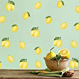 30 Stück Obst Wandsticker, Küche Obst aufkleber, Zitrone Wandtattoo Blätter Kinderzimme, Aquarell Zitrone Wandaufkleber, Wanddeko für Wohnzimmer, Kinder Schlafzimmer Küche Bad Flur Deko