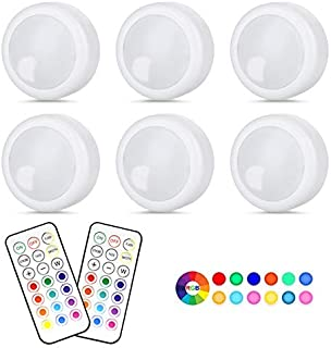 Wireless LED Puck Light 6 Pack With Remote Control, RGB Color Changing LED Under Cabinet Lighting, Closet Light, Battery P...