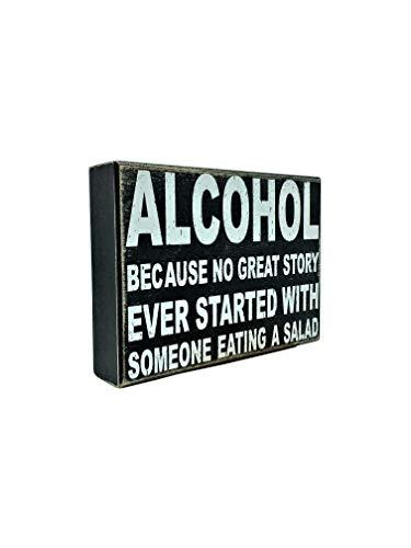 UNiQ Designs Wine Box Sign Alcohol Because NO Great Story Desk Art-Funny Desk Decor Fun Office Decor Decorative Signs-Inspirational Signs-Best Friend Signs-Best Friends Motivational Signs 6 x 8 X 1.5