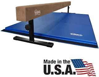 Nimble Sports Gymnastics Beam and Gymnastics Mat Combo - Tan, 12 to 18 Inch High 8 Feet Long Balance Beam and Blue 4 Feet X 6 Feet Folding Mat