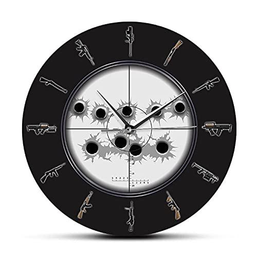 JKLMZYT Vista de Francotirador con Agujeros de Bala Arte de Pared Militar Reloj de Pared Colgante Variedad de Armas Reloj de Pared Hombre Cueva Ejército Decoración de pared-30X30cm