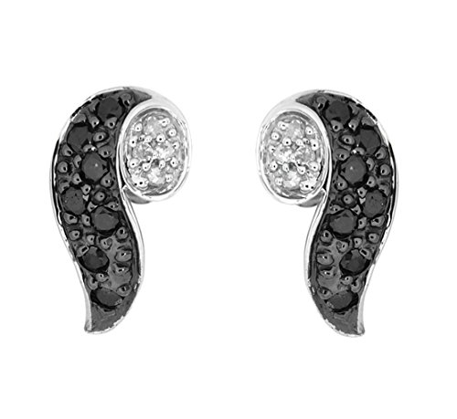 Carissima Gold 9ct White Gold 0.22ct Black and White Diamond Swirl Stud Earrings