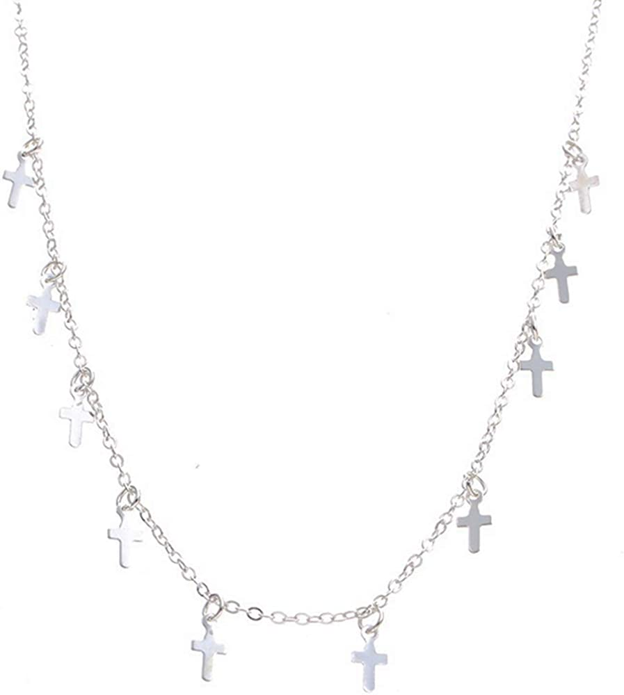 Jude Jewelers Stainles Steel Christian Cross Chain Collar Statement Necklace