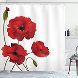 ABAKUHAUS Floral Cortina de Baño, Pétalos de Las Flores y los brotes, Material Resistente al Agua Durable Estampa Digital, 175 x 200 cm, Rojo Verde