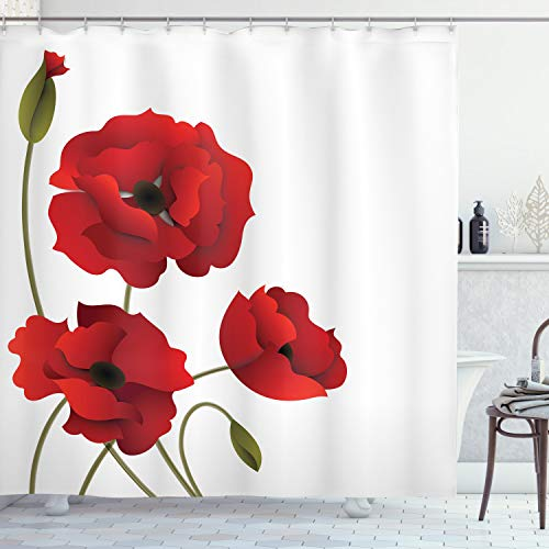 """Ambesonne Floral Shower Curtain, Poppy Flowers Vivid Petals Buds Pastoral Purity Mother Earth Nature Design, Cloth Fabric Bathroom Decor Set with Hooks, 70"""" Long, Red Green"""