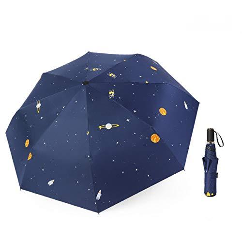 LUOLUOSM Paraguas a Prueba de Viento 100 * 67Cm Star Series Paraguas Pliegue Lluvioso Planeta Estelar Paraguas UV A Prueba de Lluvia Sombrillas para el Sol