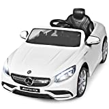 Costzon Ride On Car, 12V Licensed Mercedes Benz Battery Powered Electric Vehicle w/ 2.4G Remote Control, 3 Speeds, LED Lights, Music, Horn, MP3/USB/TF, Ride On Power Wheel for Kids (White)