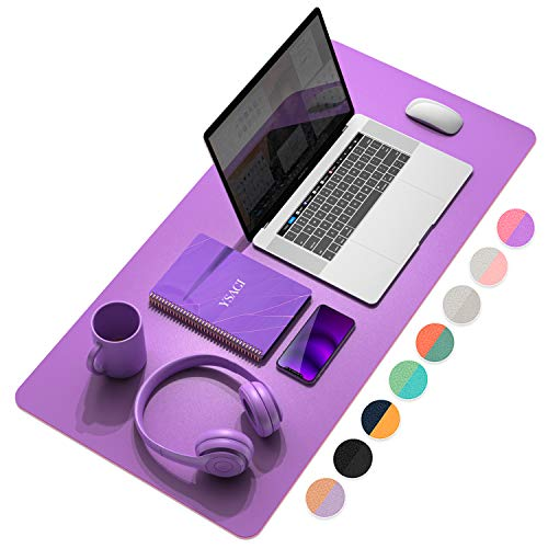 """YSAGi Multifunctional Office Desk Pad, Ultra Thin Waterproof PU Leather Mouse Pad, Dual Use Desk Writing Mat for Office/Home (31.5"""" x 15.7"""", Aconite Violet+Eosine Pink)"""