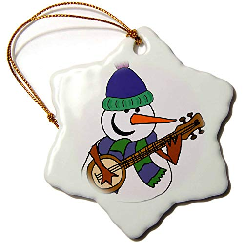 3dRose Snowflake Ornament - Funny Cute Snowman Playing Banjo Cartoon - 3-inches (orn_263787_1)