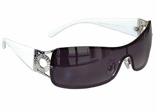 Sonnenbrille Damenbrille Schwarz Brille Monoglas Sportlicher Style Damen M 34 (Weiß Silber)