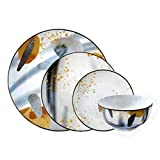 Dinner Set Porcelain 16-Piece Set Service for 4 GUSI & LEBEDI Time of Year Collection Windy Autumn Set