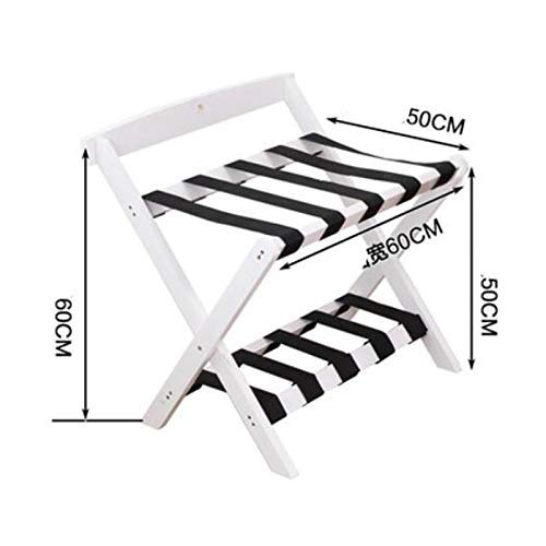 LIYONG Luggage rack Hotel Luggage Rack Luggage Stand, Foldable Suitcase Rack Luggage Support Stand Wood Tray Stand And Suitcase Shelf (Color : Wood) HLSJ (Color : White)